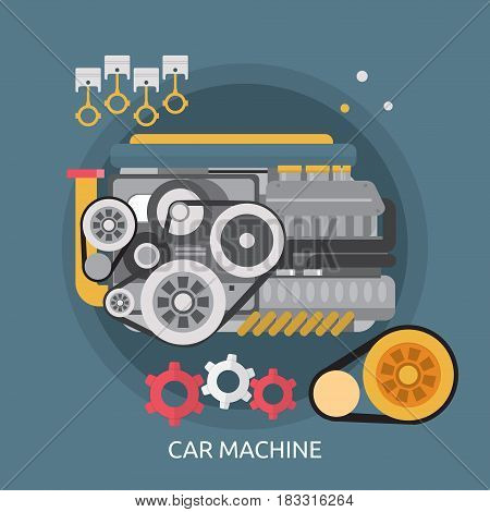 Car Machine Conceptual Design | Great flat illustration concept icon and use for mechanic, car repair, industrial, transport, business concept, and much more.
