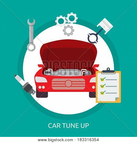 Car Tuneup Conceptual Design | Great flat illustration concept icon and use for mechanic, car repair, industrial, transport, business concept, and much more.