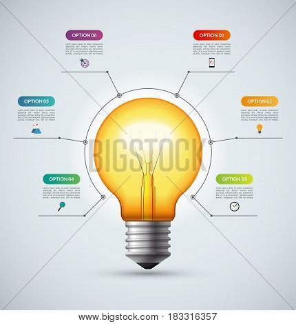 Lightbulb infographic template with 6 options. Creative idea concept. Can be used for circular chart, cycle diagram, graph, workflow layout, web design. Vector background