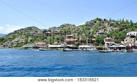 Cafes, Hotels And Restaurants Located On An Island In The Turkish Resort
