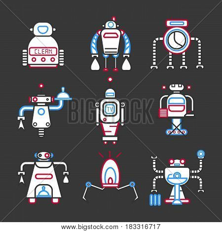 Vector illustration of different robots for entertainment and house keeping.