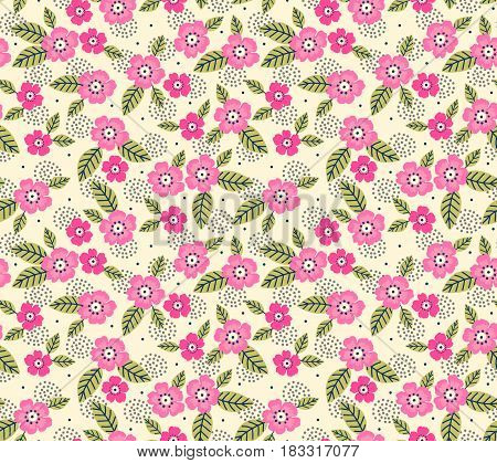 Vector seamless pattern. Cute pattern in small flower. Small pink flowers. White background. Ditsy floral background. The elegant the template for fashion prints.