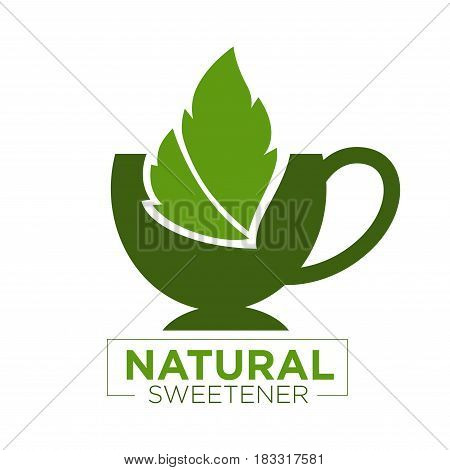 Vector illustration of green cup with a leaf and natural sweetener text.