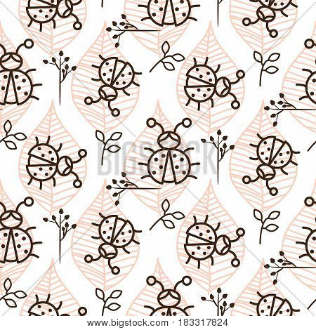 Ladybug and line pink leaves on white seamless vector pattern. Girlish tender pastel color texture for textile, apparel and wallpaper.