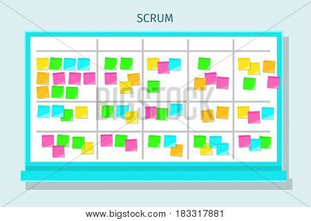 Scrum task board with sticky note cards. Flat design, vector illustration.