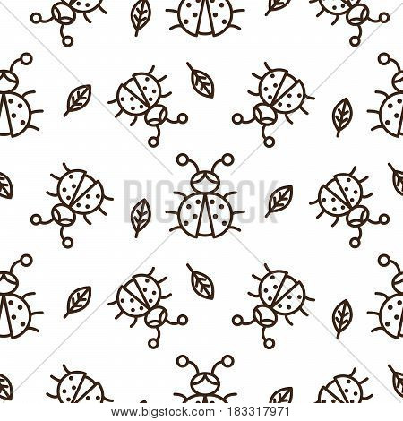 Ladybug and outline leaves on white seamless vector pattern. Girlish tender monochrome color texture for textile, apparel and wallpaper.