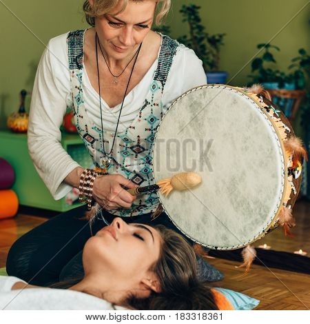 Indian Drum In Sound Therapy, Color Image, Indoors, Toned Image