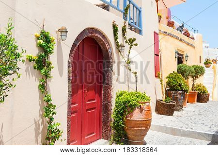 National architecture in Santorini island Greece. Summer landscape