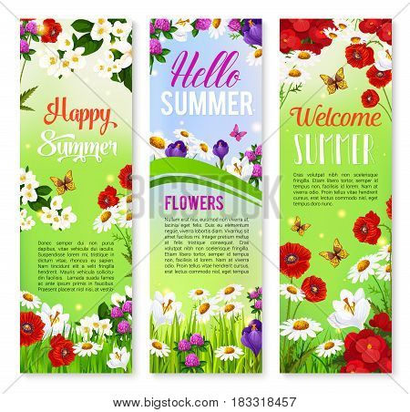 Happy Summer banner set. Blooming flower of daisy, crocus, poppy, clover on green grass field with blooming branches of jasmine and flying butterfly. Floral poster for summer season celebration design