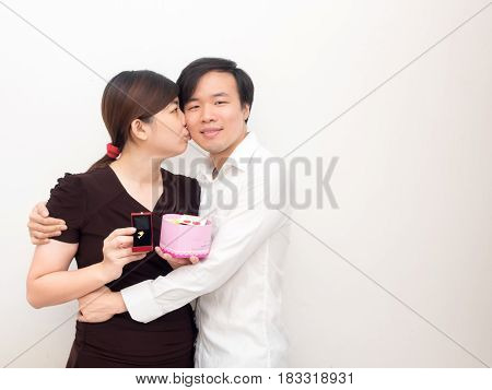 Young Asian Couple on Valentine's Day .