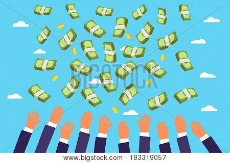 Concept of big money. Businessmen catching money rain falling from the sky. Flat design, vector illustration.
