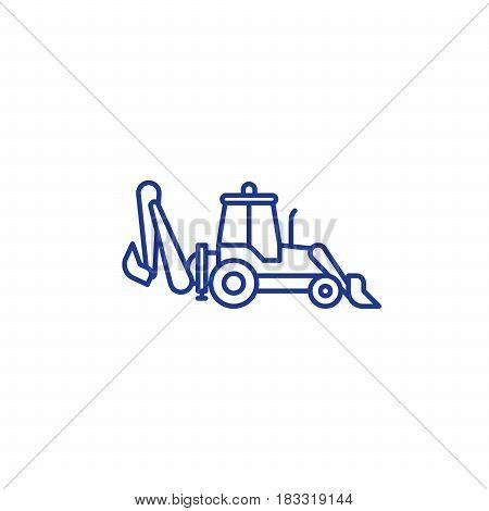 Wheel excavator mono line icon, excavation services concept symbol, side view, linear vector