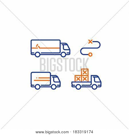 Delivery services, long and short truck, pick up truck with boxes, itinerary route, distance transportation, shipping and relocation, logistics company, mono line vector icons