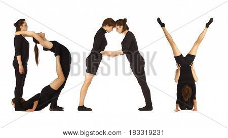 Black dressed people forming word DAY on white background
