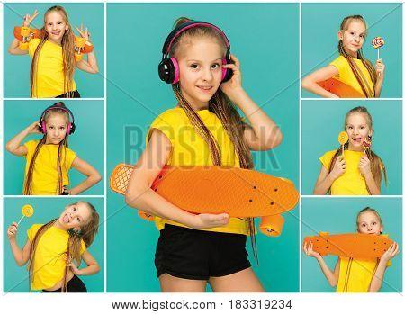 Pretty skater girl holding skateboard on blue studio background. Collage