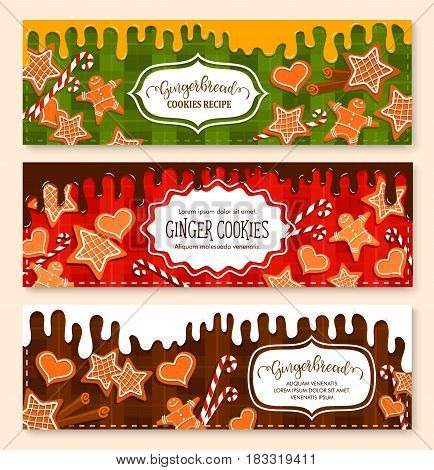 Gingerbread cookie and biscuits vector banners set. Design for bakery desserts and homemade patisseries cakes on chocolate and waffle background. Gingerbread stars, man, heats and caramel candy canes