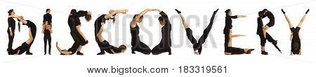 Black dressed people forming word DISCOVERY on white background