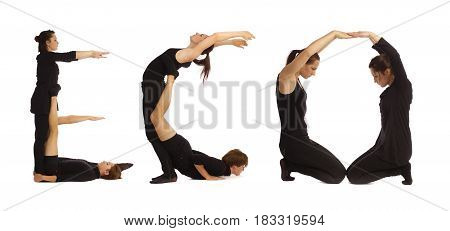 Black dressed people forming word ECO on white background
