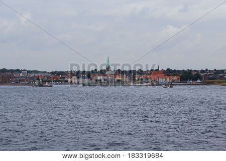 HELSINGOR, DEMNARK - JUNE 30, 2016: It is a view from the sea to the city on the Danish coast which gained worldwide fame thanks to the play of Shakespeare 'Hamlet'.