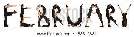 Black dressed people forming word FEBRUARY on white background