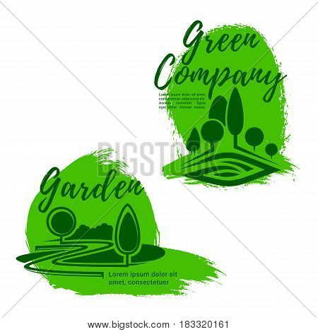 Landscape design service isolated emblem set. Green tree, figured lawn and decorative plant symbol for landscaping and lawn care company emblem or landscape architecture studio badge design