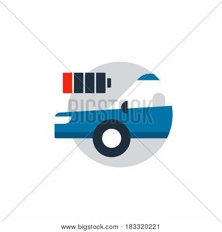 Blue car in a circle with battery. Auto car diagnostic services, electric transport concept, charge battery station. Flat design vector illustration