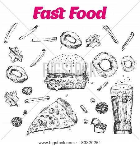 Fast food set with doodle Linear graphic. Snack collection for cafe menu, banners. Junk food Vector illustration isolated on white background.