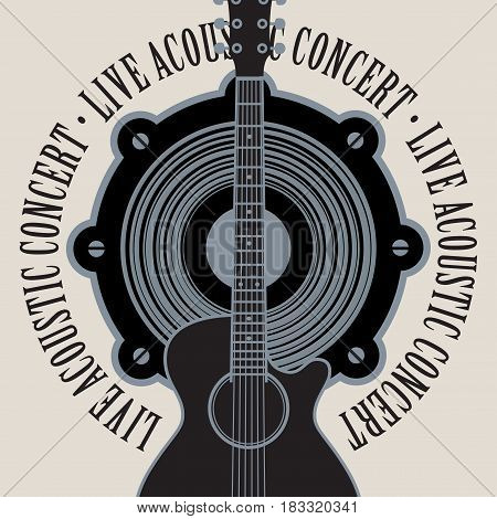 vector banner with a acoustic speaker acoustic guitar and the words live acoustic concert written around