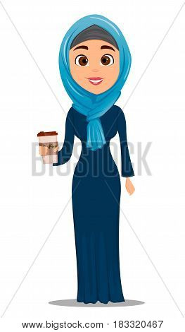 Arabic woman with coffee. Businesswoman cartoon character. Stock vector