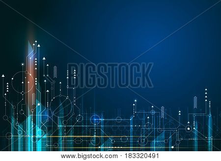 Vector Abstract science futuristic energy technology. Image of circuit board and arrow sign light rays stripes lines with blue light. Hi-tech digital technology concept
