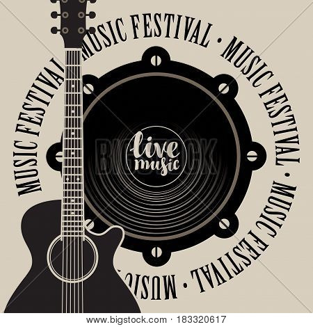 vector banner with a acoustic speaker acoustic guitar inscription live music and the words music festival written around