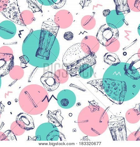 Vector modern sketch fast food seamless pattern. Colorful junk food wrapping with pizza slices, burger, french fries and hot dog. Great for menu, poster or restaurant background, banner.