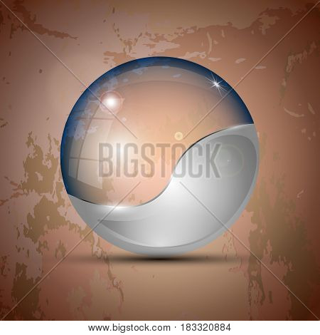 Vector illustration of the half-gray colored clear sphere-shaped object.