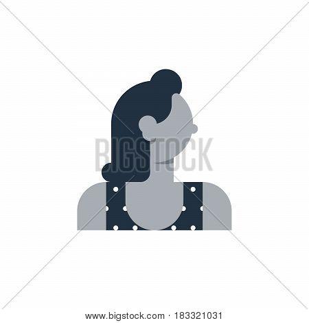 Elegant female, young woman character. Flat design vector illustration