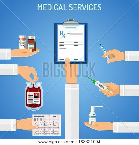 Medical services concept with flat icons prescription, syringe, cardiogram, blood container in doctor hands. isolated vector illustration