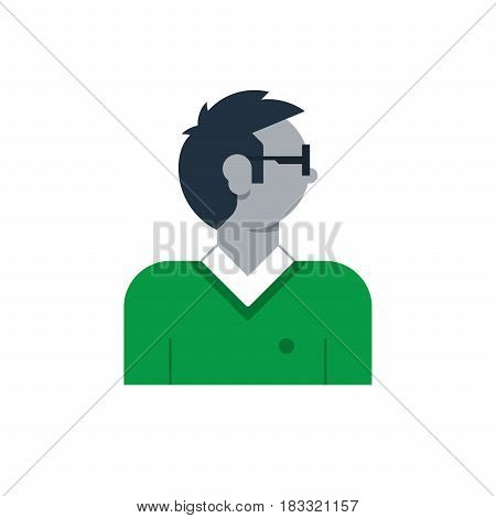 Male character turned head, young man. Flat design vector illustration