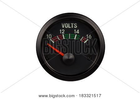 Analog DC. voltmters round shape isolated on white background.( With clipping path.)