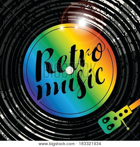 Vector poster for the retro music with vinyl record record player and multicolor lettering