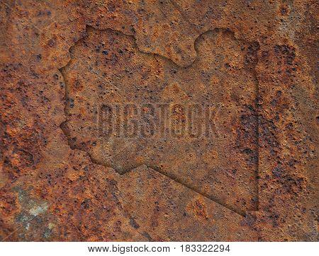 Map Of Libya On Rusty Metal