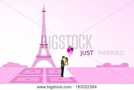 Just married - wedding. Bridal couple in Paris with balloons. Eiffel tower in the background. Pink shade.