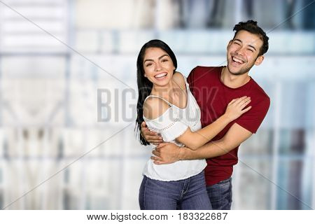 Happy hispanic couple in love with each other