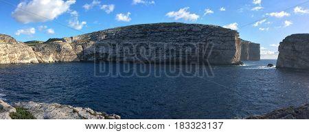Fungus Rock in the Dwejra Bay using as Background on  Gozo Malta