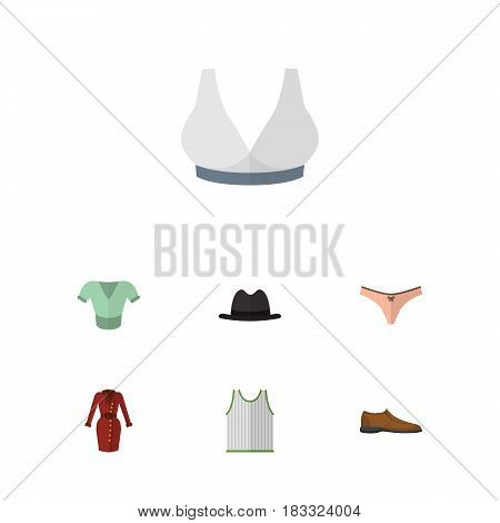 Flat Dress Set Of Casual, Lingerie, Singlet And Other Vector Objects. Also Includes Footware, Bra, Blouse Elements.