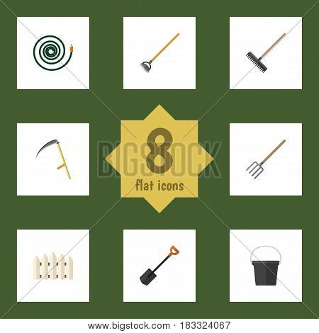Flat  Set Of Pail, Cutter, Spade And Other Vector Objects. Also Includes Cutter, Scythe, Harrow Elements.