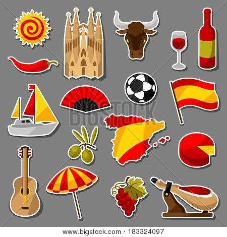 Spain sticker icons set. Spanish traditional symbols and objects.