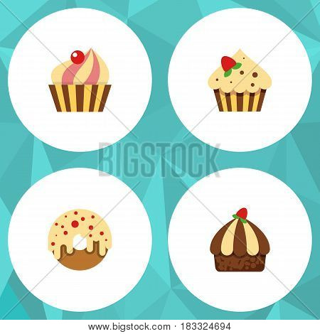 Flat Cake Set Of Sweetmeat, Confectionery, Doughnut And Other Vector Objects. Also Includes Confectionery, Cupcake, Sweetmeat Elements.