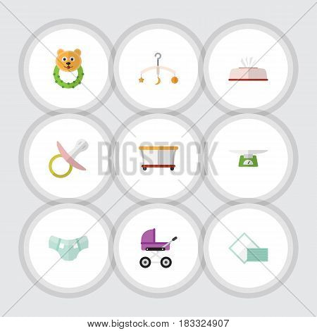 Flat Infant Set Of Stroller, Mobile, Nipple And Other Vector Objects. Also Includes Towel, Tissue, Children Elements.