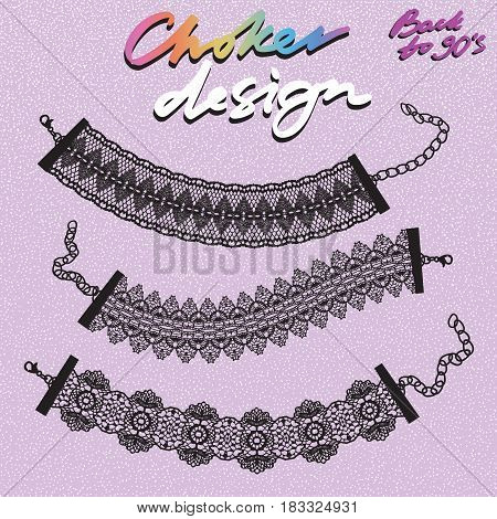 Choker design. Collection of chokers. Vector illustration