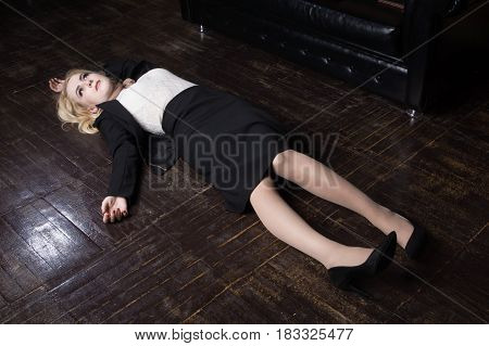 Crime Scene (imitation). Strangled Business Woman In A Office