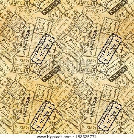 Many black International travel visa rubber stamps imprints on old paper, seamless pattern